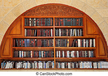 Jewish prayer books on the shelves. - JERUSALEM - AUGUST 21:...