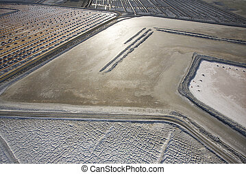 Alkali flat aerial - Aerial of alkali flat in Owens Valley,...