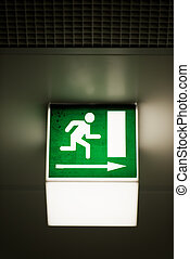 Exit sign on the wall