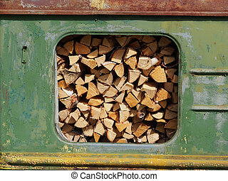 railway wagon with wood
