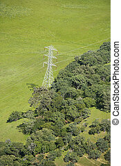 Power line. - Aerial of landscape with power line.