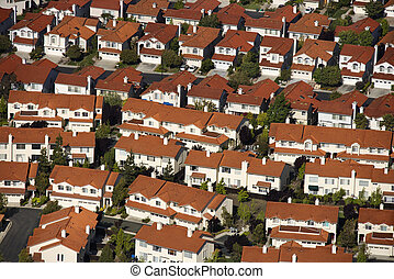 Suburb aerial. - Aerial of suburban community, USA.