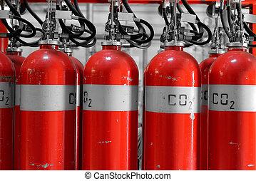 grande, CO2, fuego, extintores, potencia, planta