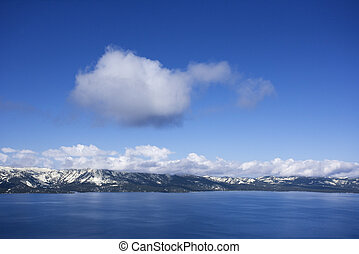 Lake Tahoe, Nevada. - Aerial landscape lake and mountains at...