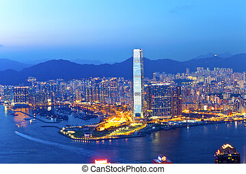 Hong Kong city at sunset