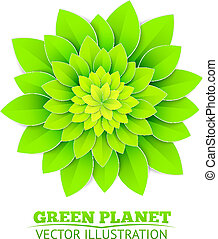 Background with green flower.