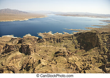 Lake Mead, Nevada. - Aerial of Lake Mead landscape in...