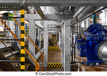 Industrial interior of a power plant - Industrial interior...