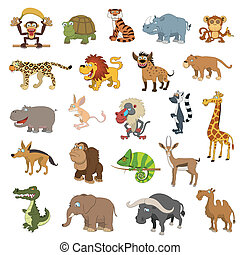 Africa animals set isolated on white background