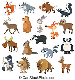 Forest animals set on white background
