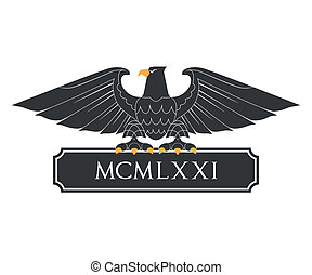 Heraldic eagle with nameplate - Black heraldic eagle with...