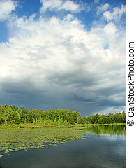 Mud Lake in Northwoods Wisconsin - Thunderstorm clouds...