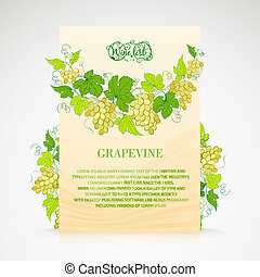 Wine list design with grapes decoration. Vector...