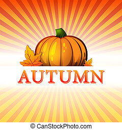autumn illustration with pumpkin and fall leaves and rays -...