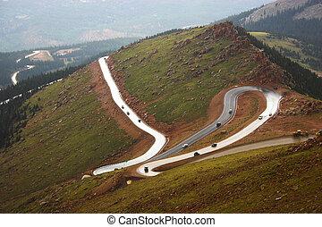 Pikes Peak road - Winding road to Pike�s Peak in Colorado...