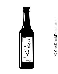 Beer bottle. - Beer bottle with label - vector illustration....