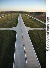 Airplane runway - Aerial view of runway in Chicago, Illinois...