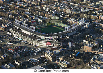 Wrigley Field. - Aerial view of Wrigley Field in Chicago,...