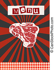 t-bone - BBQ poster template with fresh beef steak.