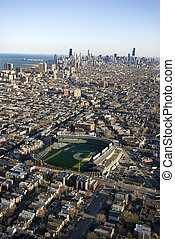 Chicago, Illinois. - Aerial view of Wrigley Field with...