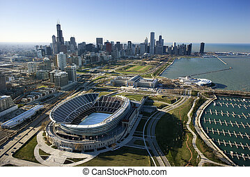 Chicago, Illinois - Aerial view of Chicago, Illinois skyline...