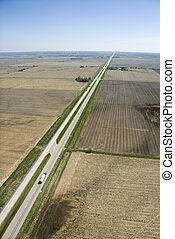 Highway in rural USA. - Aerial view of highway through rural...