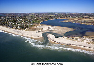 Beach with shoal. - Aerial view of Southampton, New York...