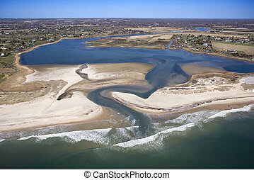Beach and ocean inlet. - Aerial view of Bridgehampton, New...