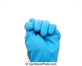Rubber glove on a white background