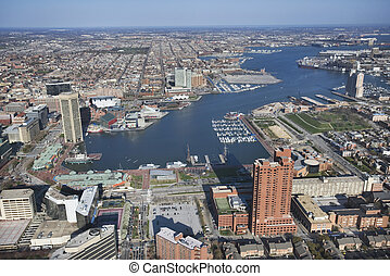 Baltimore Harbor - Aerial view of the Inner Harbor in...