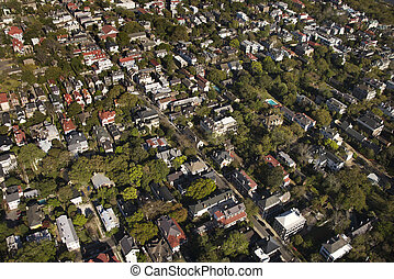 Charleston, South Carolina. - Aerial view of buildings in...