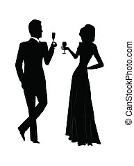 holiday toast - couple toasting in celebration to a special...