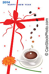 New Year Gift Card with Coffee and Daisy - A Cup of Hot...