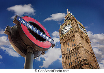The Underground And Big Ben, London - Londons famous symbols...
