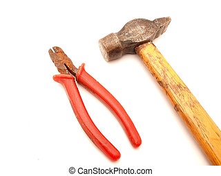 Hammer and flat-nose pliers on a white background