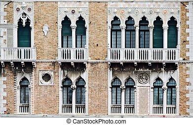 Facade of a building in Venice - Facade of the beautiful...