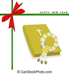 New Year Gift Card with Bible and Flower Garland - An...