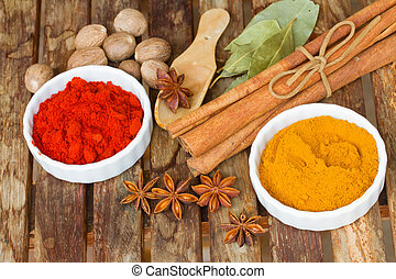 powdered curry and red pepper - powdered spices of curry and...