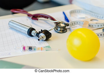 Medical tools on table - Pediatrician medical tools on the...
