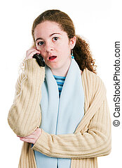Latina Tween on Cellphone