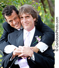Gay Couple in Love - Portrait of a handsome gay couple in...