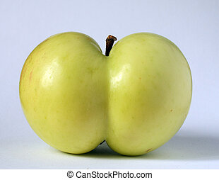 apple of a funny shape - green apple of a queer funny shape