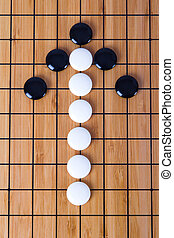 Go Game - Top view of black and white Chinese go game...