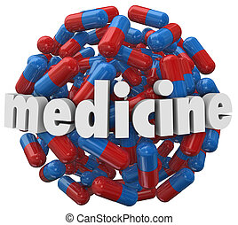 Medicine Word Prescription Pills Capsules - The word...