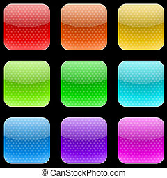 Vector set of varicolored dotted rounded square buttons...