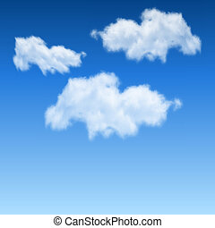 White clouds on blue sky realistic vector background.
