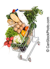 Healthy food in shopping cart - top view, isolated