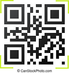 Black and white QR code with green reader frame