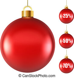 Blank red Christmas ball isolated on white background with...