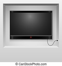 Modern TV hanging in wall niche vector illustration.